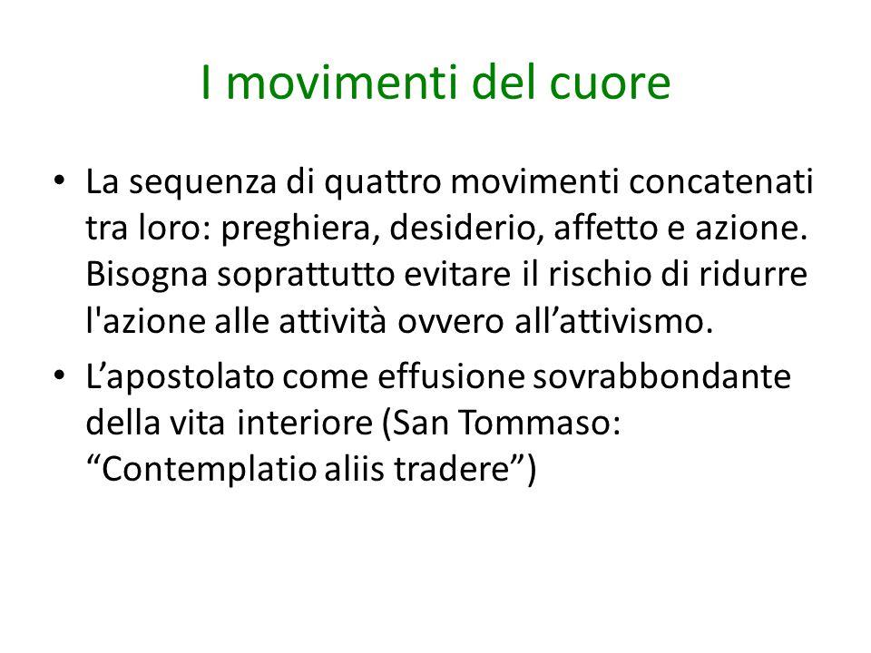 I movimenti del cuore La sequenza di quattro movimenti concatenati tra loro: preghiera, desiderio, affetto e azione. Bisogna soprattutto evitare il ri