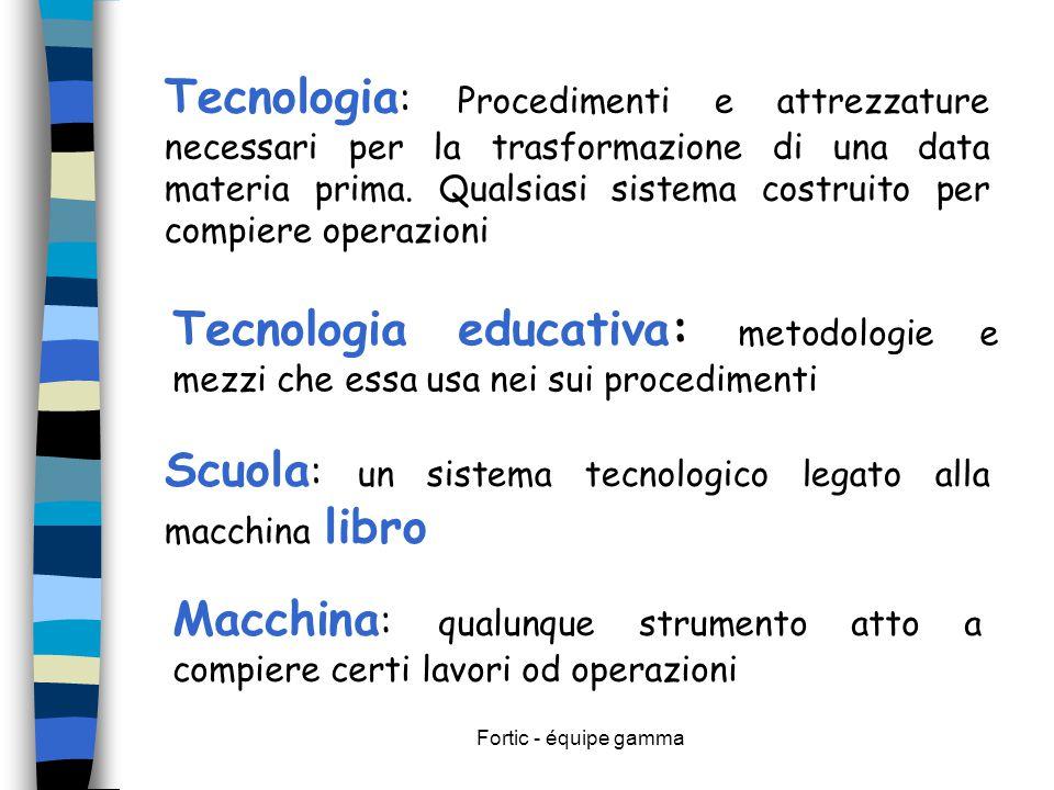 Fortic - équipe gamma Tecnologia : Procedimenti e attrezzature necessari per la trasformazione di una data materia prima. Qualsiasi sistema costruito