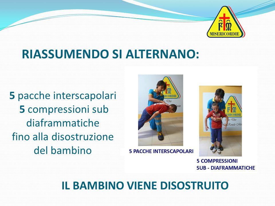 RIASSUMENDO SI ALTERNANO: 5 pacche interscapolari 5 compressioni sub diaframmatiche fino alla disostruzione del bambino IL BAMBINO VIENE DISOSTRUITO