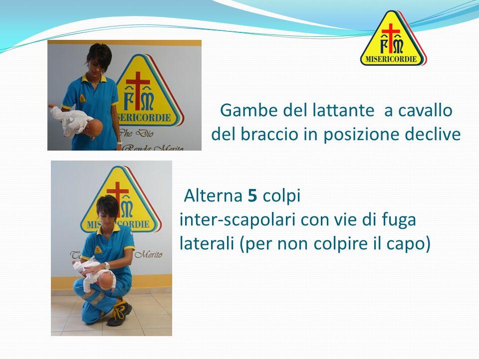 Gambe del lattante a cavallo del braccio in posizione declive Alterna 5 colpi inter-scapolari con vie di fuga laterali (per non colpire il capo)