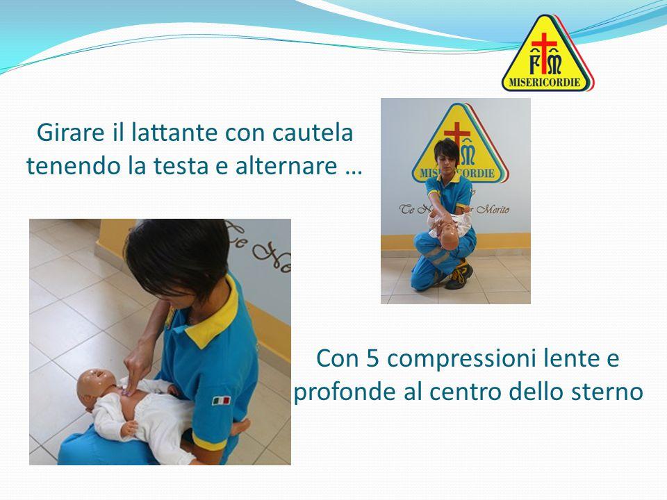 Girare il lattante con cautela tenendo la testa e alternare … Con 5 compressioni lente e profonde al centro dello sterno