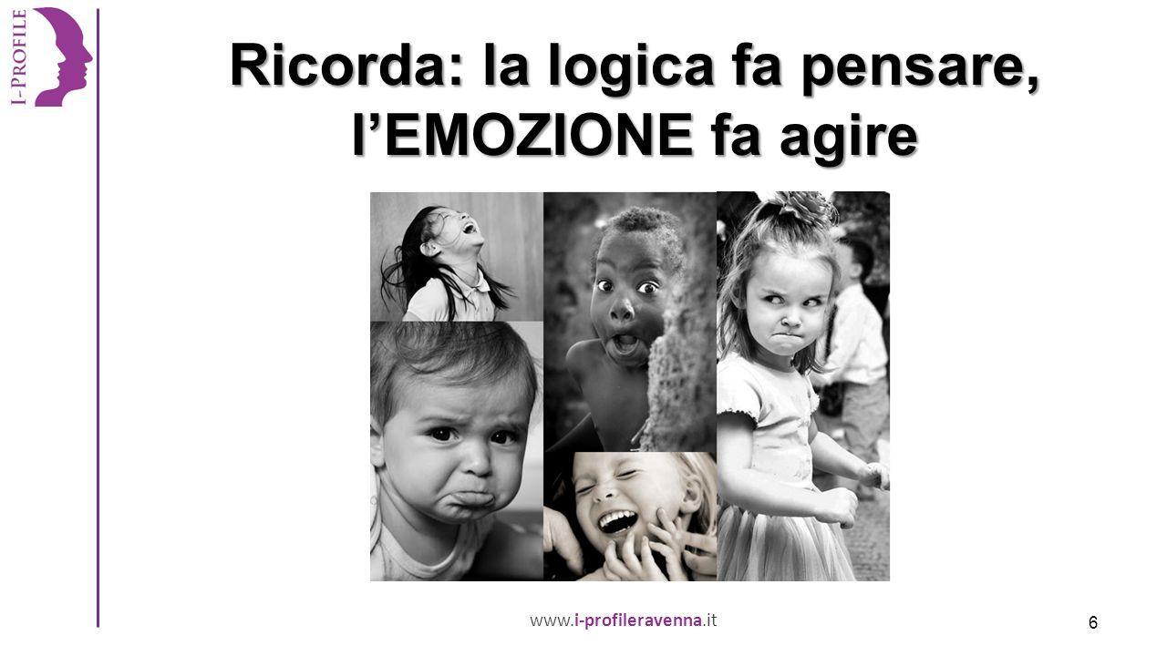 www.i-profileravenna.it Ricorda: la logica fa pensare, l'EMOZIONE fa agire 6