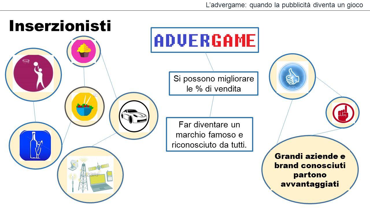 L'advergame: quando la pubblicità diventa un gioco Inserzionisti Grandi aziende e brand conosciuti partono avvantaggiati Si possono migliorare le % di