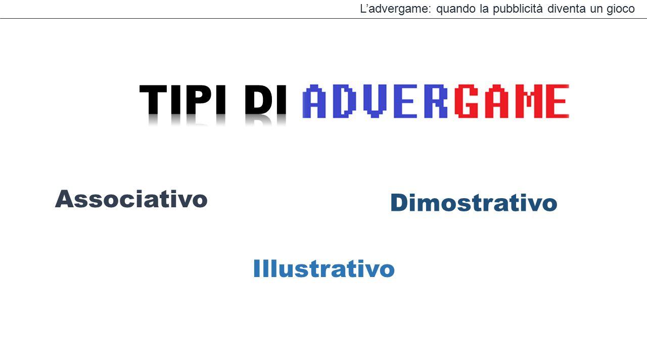 L'advergame: quando la pubblicità diventa un gioco Associativo Illustrativo Dimostrativo