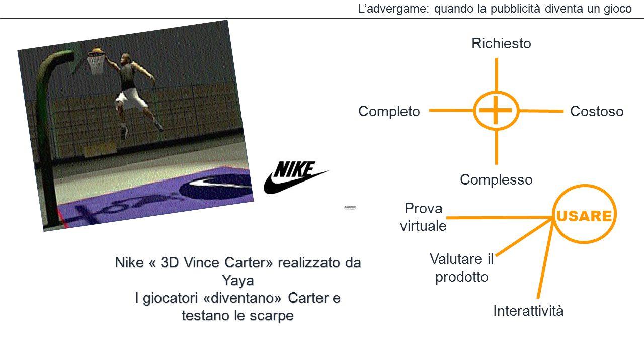 L'advergame: quando la pubblicità diventa un gioco Complesso Completo Richiesto Costoso Interattività USARE Valutare il prodotto Prova virtuale Nike «