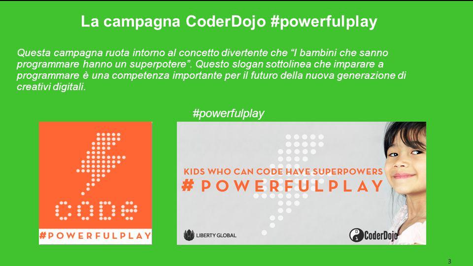 La campagna CoderDojo #powerfulplay 3 Questa campagna ruota intorno al concetto divertente che I bambini che sanno programmare hanno un superpotere .