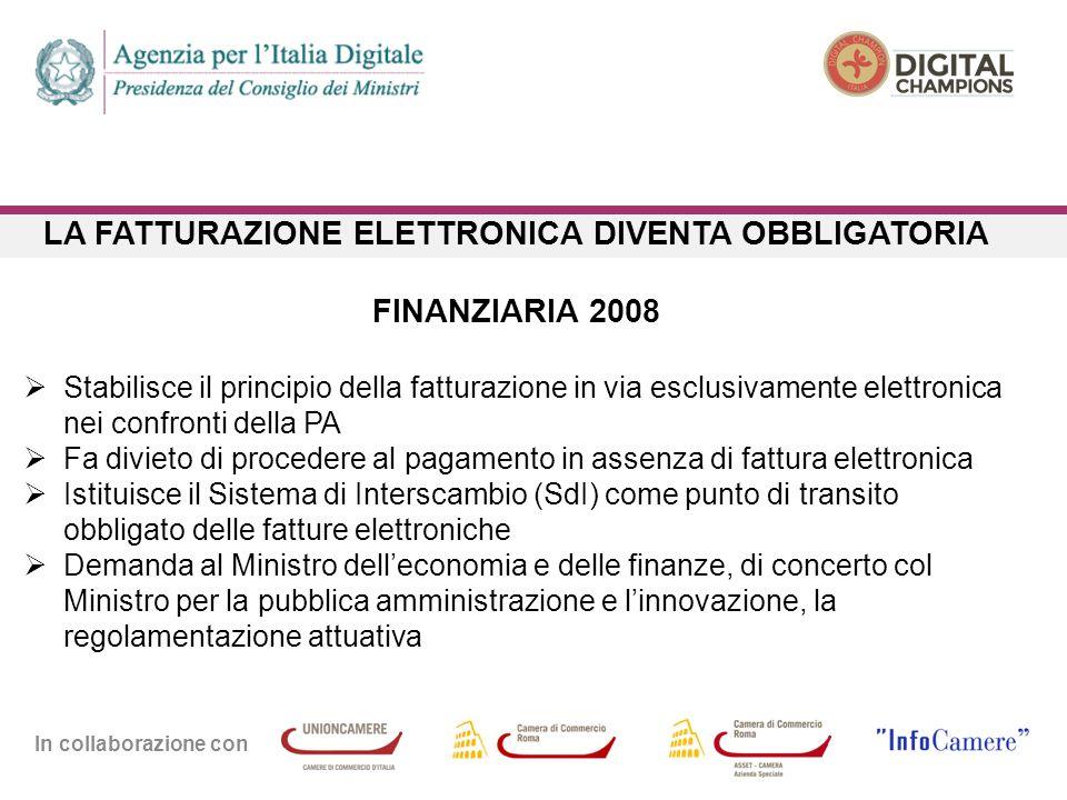 In collaborazione con LA FATTURAZIONE ELETTRONICA DIVENTA OBBLIGATORIA FINANZIARIA 2008  Stabilisce il principio della fatturazione in via esclusivam