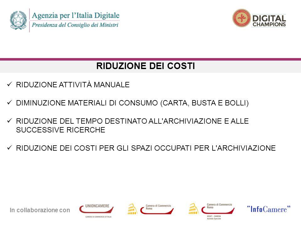 In collaborazione con RIDUZIONE DEI COSTI RIDUZIONE ATTIVITÀ MANUALE DIMINUZIONE MATERIALI DI CONSUMO (CARTA, BUSTA E BOLLI) RIDUZIONE DEL TEMPO DESTI