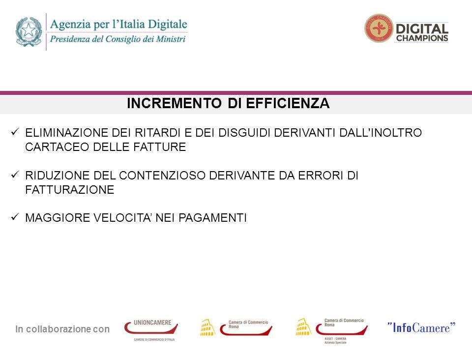 In collaborazione con INCREMENTO DI EFFICIENZA ELIMINAZIONE DEI RITARDI E DEI DISGUIDI DERIVANTI DALL INOLTRO CARTACEO DELLE FATTURE RIDUZIONE DEL CONTENZIOSO DERIVANTE DA ERRORI DI FATTURAZIONE MAGGIORE VELOCITA' NEI PAGAMENTI