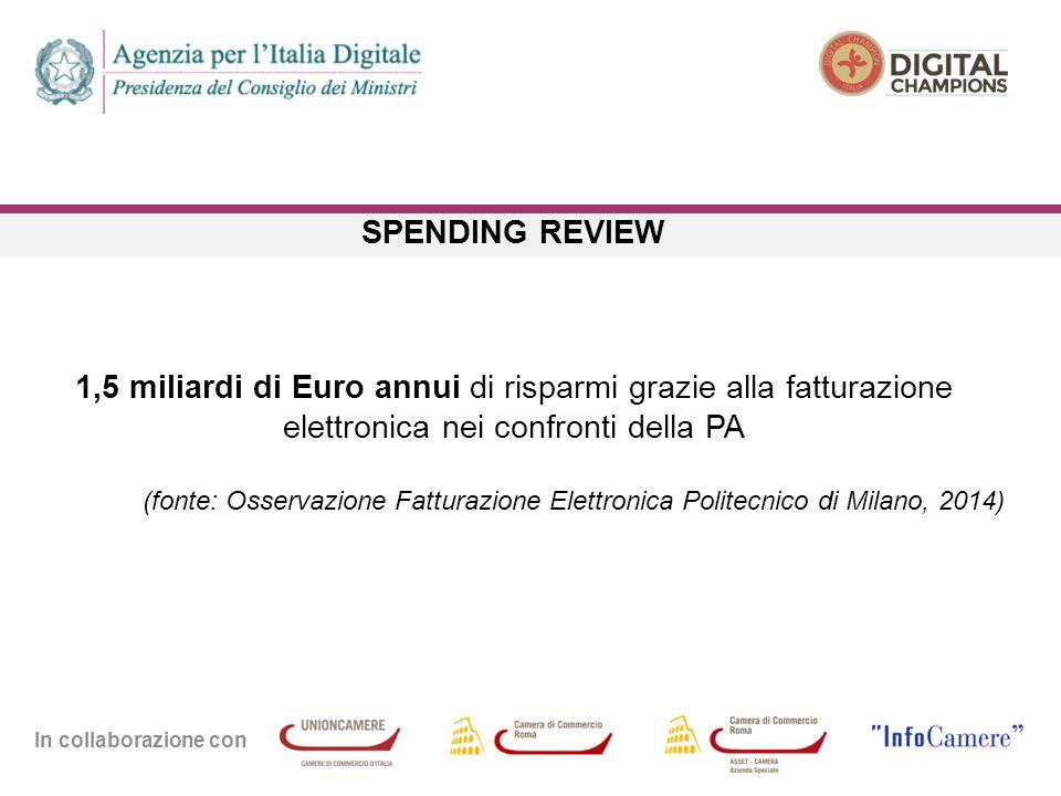 In collaborazione con SPENDING REVIEW 1,5 miliardi di Euro annui di risparmi grazie alla fatturazione elettronica nei confronti della PA (fonte: Osservazione Fatturazione Elettronica Politecnico di Milano, 2014)