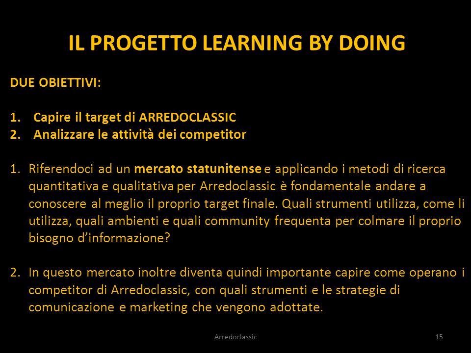 IL PROGETTO LEARNING BY DOING DUE OBIETTIVI: 1.Capire il target di ARREDOCLASSIC 2.Analizzare le attività dei competitor 1.Riferendoci ad un mercato s