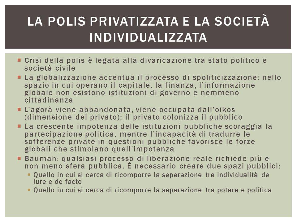  Crisi della polis è legata alla divaricazione tra stato politico e società civile  La globalizzazione accentua il processo di spoliticizzazione: ne