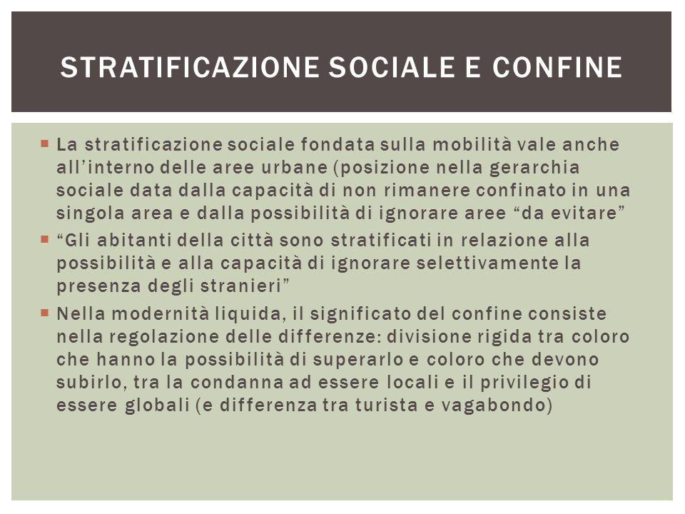  La stratificazione sociale fondata sulla mobilità vale anche all'interno delle aree urbane (posizione nella gerarchia sociale data dalla capacità di
