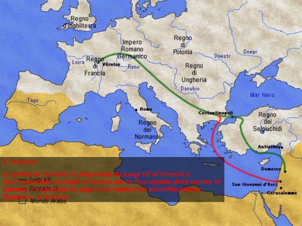 2° crociata La seconda crociata fu promossa da Luigi VII di Francia e dall'imperatore Corrado di Svevia per la riconquista della contea di Edessa. La