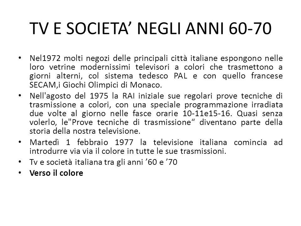 TV E SOCIETA' NEGLI ANNI 60-70 Nel1972 molti negozi delle principali città italiane espongono nelle loro vetrine modernissimi televisori a colori che