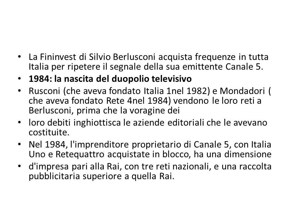 La Fininvest di Silvio Berlusconi acquista frequenze in tutta Italia per ripetere il segnale della sua emittente Canale 5. 1984: la nascita del duopol