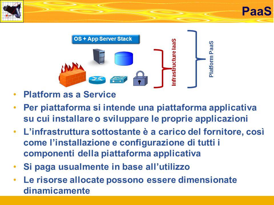 PaaS Platform as a Service Per piattaforma si intende una piattaforma applicativa su cui installare o sviluppare le proprie applicazioni L'infrastruttura sottostante è a carico del fornitore, così come l'installazione e configurazione di tutti i componenti della piattaforma applicativa Si paga usualmente in base all'utilizzo Le risorse allocate possono essere dimensionate dinamicamente Infrastructure IaaS Platform PaaS