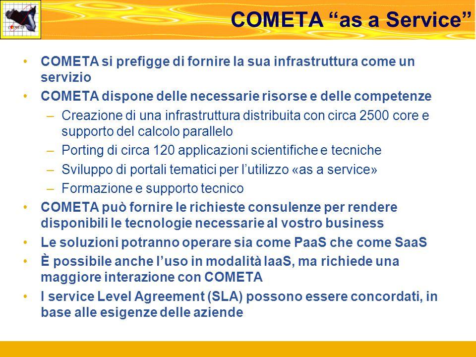COMETA as a Service COMETA si prefigge di fornire la sua infrastruttura come un servizio COMETA dispone delle necessarie risorse e delle competenze –Creazione di una infrastruttura distribuita con circa 2500 core e supporto del calcolo parallelo –Porting di circa 120 applicazioni scientifiche e tecniche –Sviluppo di portali tematici per l'utilizzo «as a service» –Formazione e supporto tecnico COMETA può fornire le richieste consulenze per rendere disponibili le tecnologie necessarie al vostro business Le soluzioni potranno operare sia come PaaS che come SaaS È possibile anche l'uso in modalità IaaS, ma richiede una maggiore interazione con COMETA I service Level Agreement (SLA) possono essere concordati, in base alle esigenze delle aziende
