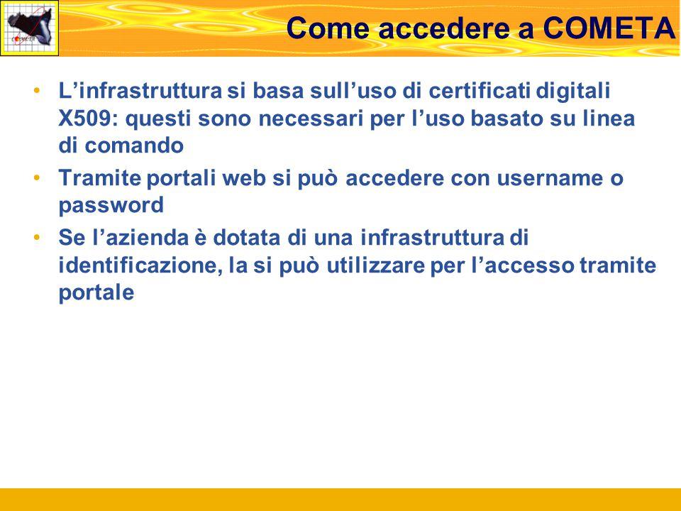 Come accedere a COMETA L'infrastruttura si basa sull'uso di certificati digitali X509: questi sono necessari per l'uso basato su linea di comando Tramite portali web si può accedere con username o password Se l'azienda è dotata di una infrastruttura di identificazione, la si può utilizzare per l'accesso tramite portale