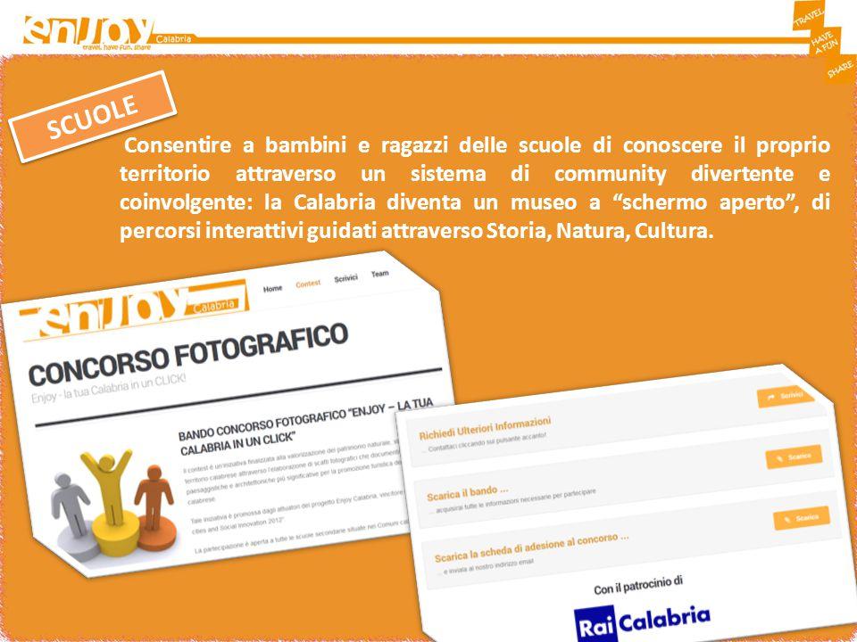 Consentire a bambini e ragazzi delle scuole di conoscere il proprio territorio attraverso un sistema di community divertente e coinvolgente: la Calabria diventa un museo a schermo aperto , di percorsi interattivi guidati attraverso Storia, Natura, Cultura.