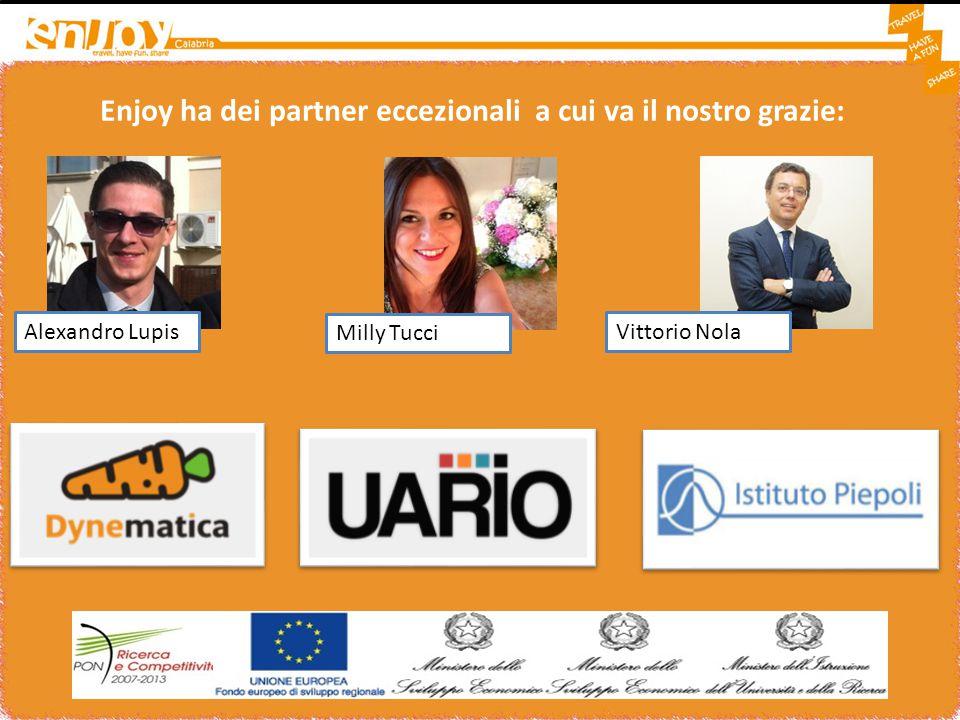 Enjoy ha dei partner eccezionali a cui va il nostro grazie: Email Alexandro Lupis Milly Tucci Vittorio Nola