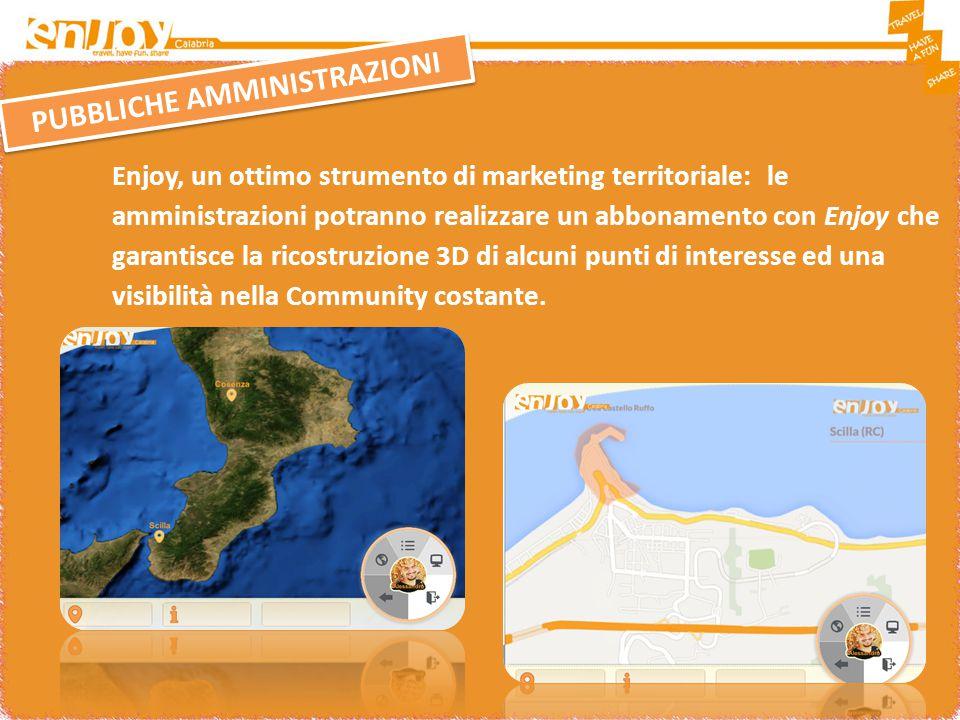 PUBBLICHE AMMINISTRAZIONI Enjoy, un ottimo strumento di marketing territoriale: le amministrazioni potranno realizzare un abbonamento con Enjoy che garantisce la ricostruzione 3D di alcuni punti di interesse ed una visibilità nella Community costante.