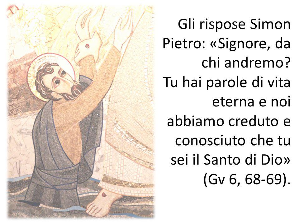 Gli rispose Simon Pietro: «Signore, da chi andremo? Tu hai parole di vita eterna e noi abbiamo creduto e conosciuto che tu sei il Santo di Dio» (Gv 6,