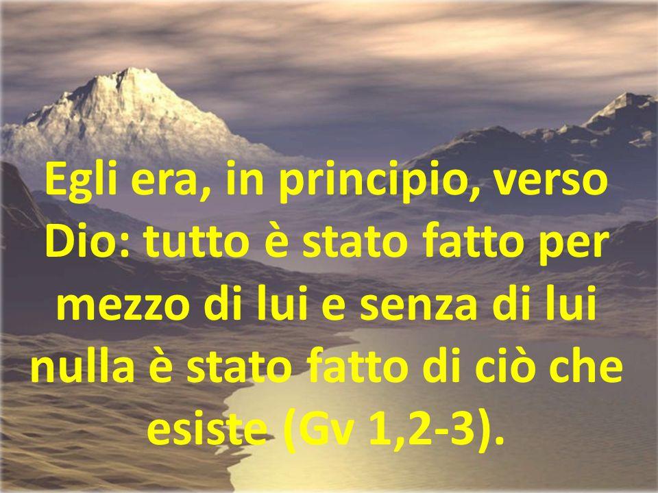 Egli era, in principio, verso Dio: tutto è stato fatto per mezzo di lui e senza di lui nulla è stato fatto di ciò che esiste (Gv 1,2-3).