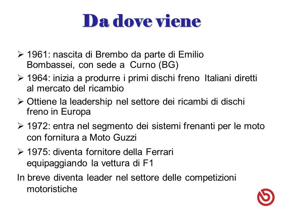 Da dove viene  1961: nascita di Brembo da parte di Emilio Bombassei, con sede a Curno (BG)  1964: inizia a produrre i primi dischi freno Italiani diretti al mercato del ricambio  Ottiene la leadership nel settore dei ricambi di dischi freno in Europa  1972: entra nel segmento dei sistemi frenanti per le moto con fornitura a Moto Guzzi  1975: diventa fornitore della Ferrari equipaggiando la vettura di F1 In breve diventa leader nel settore delle competizioni motoristiche