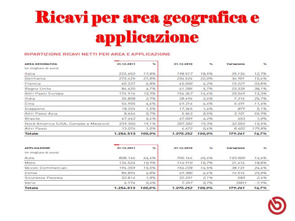 Ricavi per area geografica e applicazione
