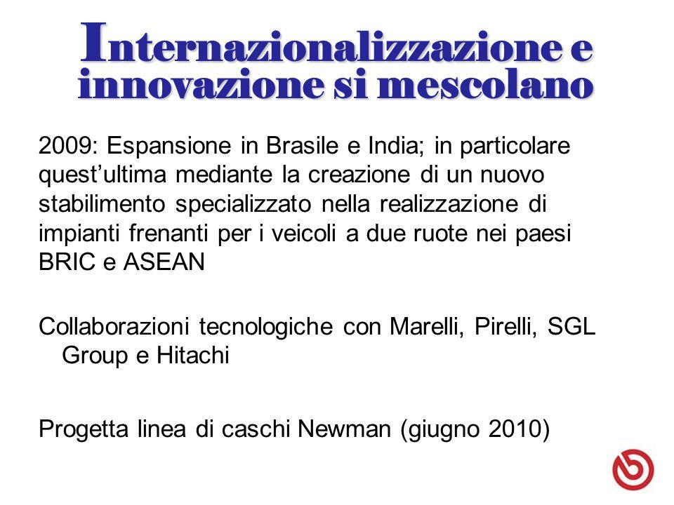 I nternazionalizzazione e innovazione si mescolano 2009: Espansione in Brasile e India; in particolare quest'ultima mediante la creazione di un nuovo