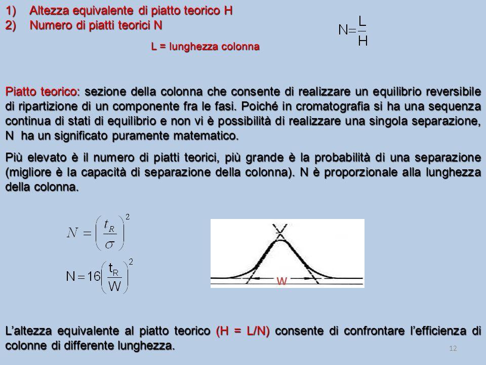 12 1)Altezza equivalente di piatto teorico H 2)Numero di piatti teorici N L = lunghezza colonna Piatto teorico: sezione della colonna che consente di realizzare un equilibrio reversibile di ripartizione di un componente fra le fasi.