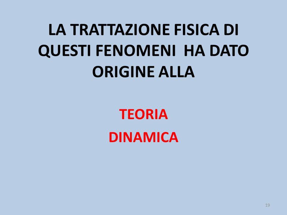 LA TRATTAZIONE FISICA DI QUESTI FENOMENI HA DATO ORIGINE ALLA TEORIA DINAMICA 19