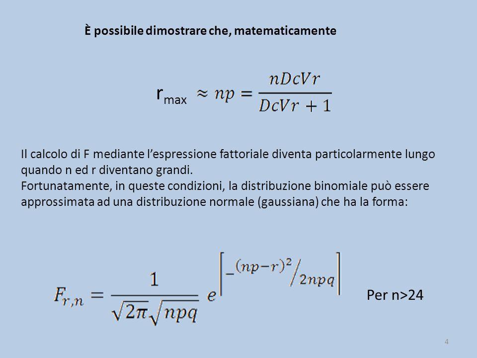 4 r max È possibile dimostrare che, matematicamente Il calcolo di F mediante l'espressione fattoriale diventa particolarmente lungo quando n ed r dive