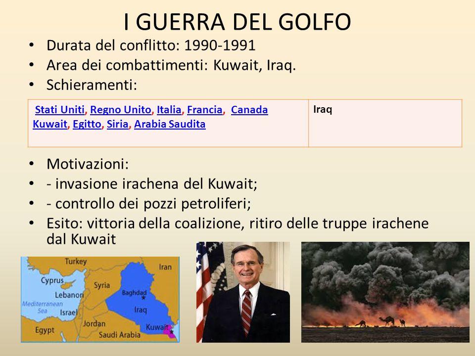 I GUERRA DEL GOLFO Durata del conflitto: 1990-1991 Area dei combattimenti: Kuwait, Iraq.