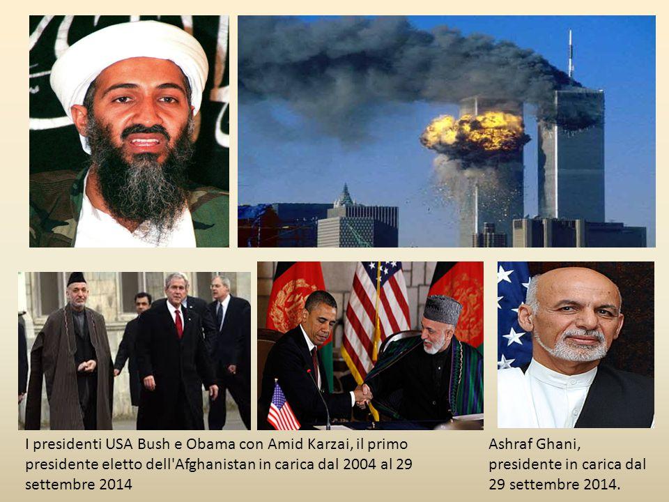 I presidenti USA Bush e Obama con Amid Karzai, il primo presidente eletto dell Afghanistan in carica dal 2004 al 29 settembre 2014 Ashraf Ghani, presidente in carica dal 29 settembre 2014.