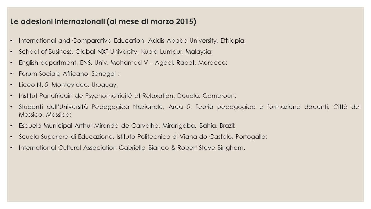 Le adesioni internazionali (al mese di marzo 2015) International and Comparative Education, Addis Ababa University, Ethiopia; School of Business, Glob