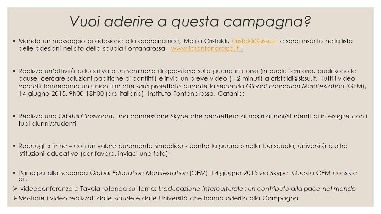 Vuoi aderire a questa campagna?  Manda un messaggio di adesione alla coordinatrice, Melita Cristaldi, cristaldi@sissu.it e sarai inserito nella lista