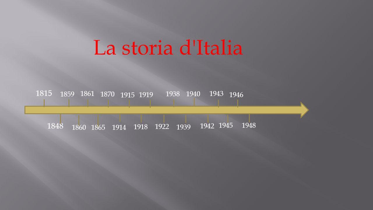 1815 1848 1859 1860 1861 1865 1870 1914 1922 1915 1918 1919 1938 1939 1940 1942 1943 1945 1946 1948 La storia d Italia