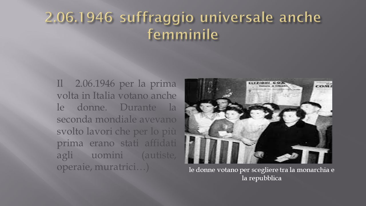 Il 2.06.1946 per la prima volta in Italia votano anche le donne.