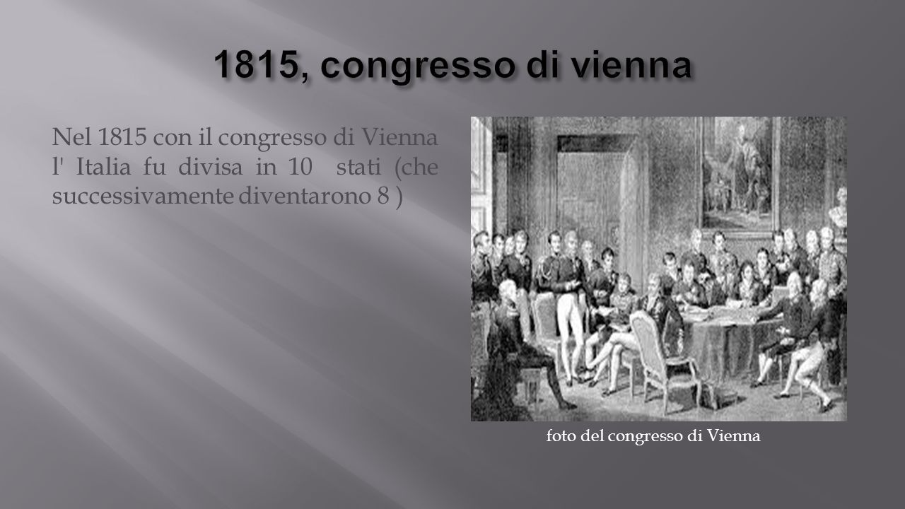Nel 1815 con il congresso di Vienna l Italia fu divisa in 10 stati (che successivamente diventarono 8 ) foto del congresso di Vienna