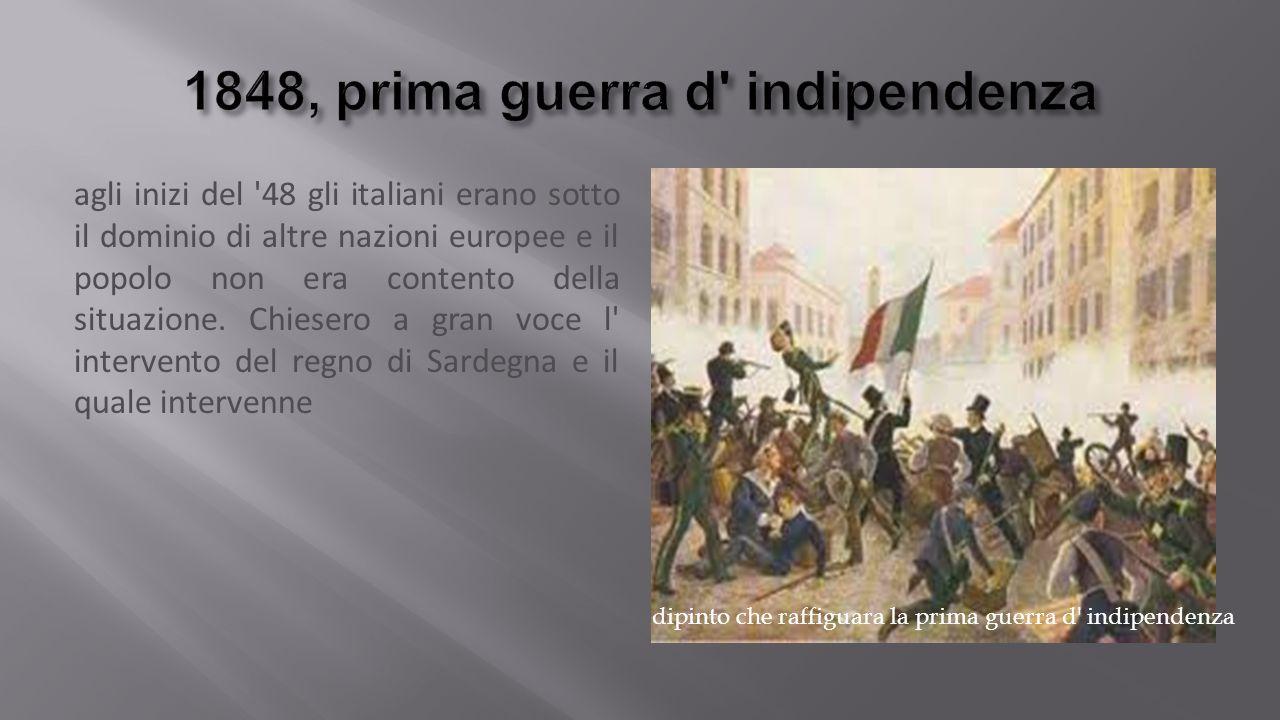 agli inizi del 48 gli italiani erano sotto il dominio di altre nazioni europee e il popolo non era contento della situazione.