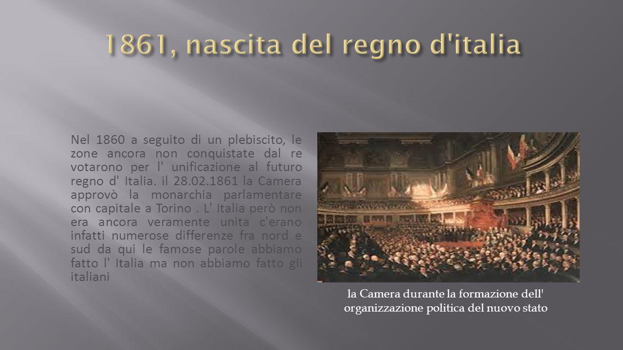 Nel 1860 a seguito di un plebiscito, le zone ancora non conquistate dal re votarono per l unificazione al futuro regno d Italia.