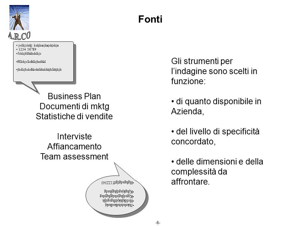 -6- Fonti Gli strumenti per l'indagine sono scelti in funzione: di quanto disponibile in Azienda, del livello di specificità concordato, delle dimensi