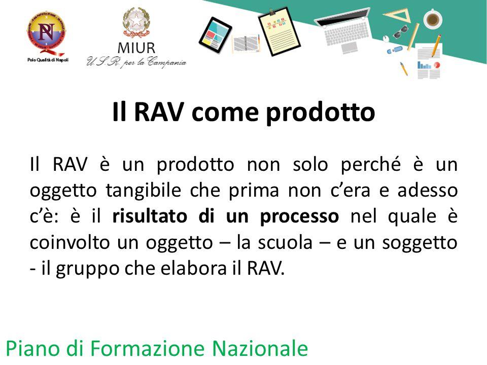 Il RAV come prodotto Il RAV è un prodotto non solo perché è un oggetto tangibile che prima non c'era e adesso c'è: è il risultato di un processo nel quale è coinvolto un oggetto – la scuola – e un soggetto - il gruppo che elabora il RAV.