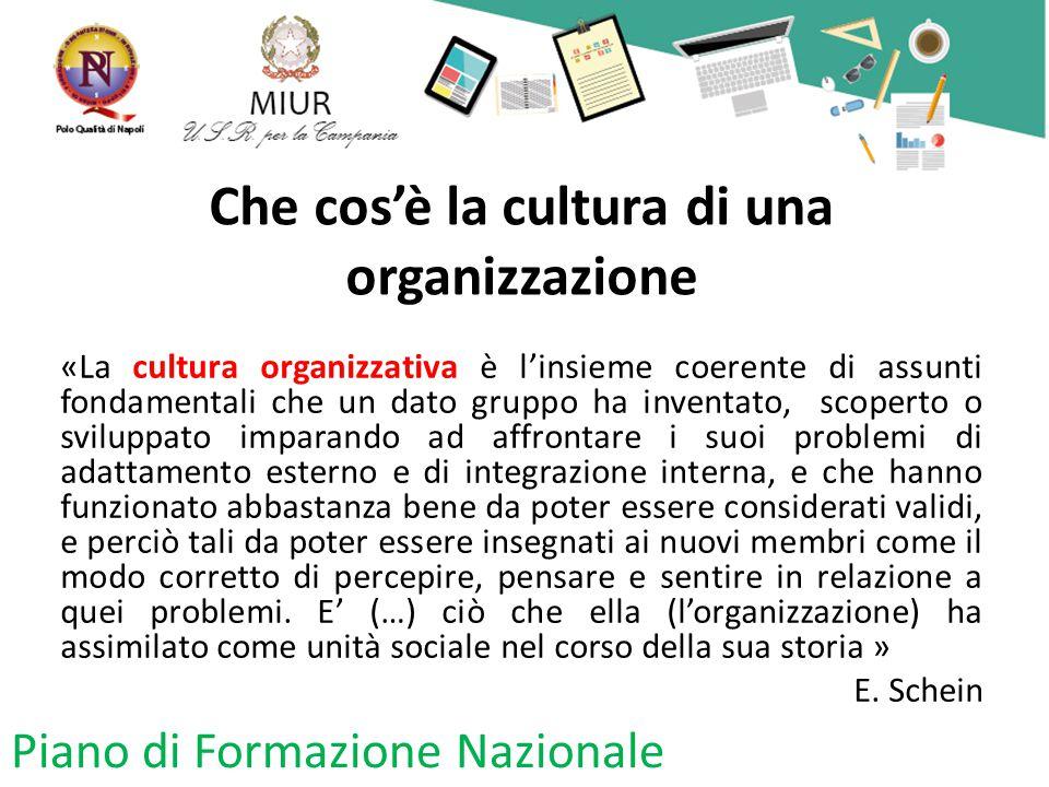 Che cos'è la cultura di una organizzazione «La cultura organizzativa è l'insieme coerente di assunti fondamentali che un dato gruppo ha inventato, sco