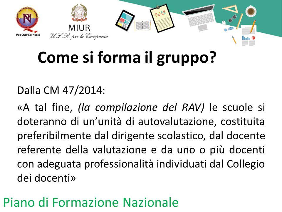 Come si forma il gruppo? Dalla CM 47/2014: «A tal fine, (la compilazione del RAV) le scuole si doteranno di un'unità di autovalutazione, costituita pr
