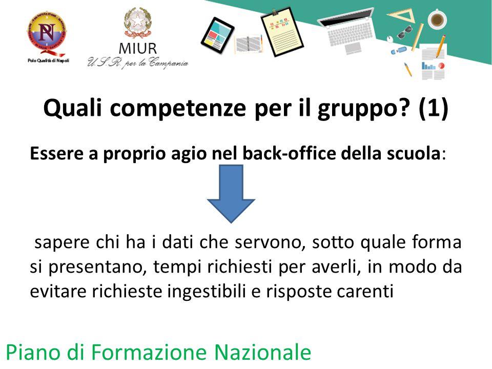 Quali competenze per il gruppo? (1) Essere a proprio agio nel back-office della scuola: sapere chi ha i dati che servono, sotto quale forma si present