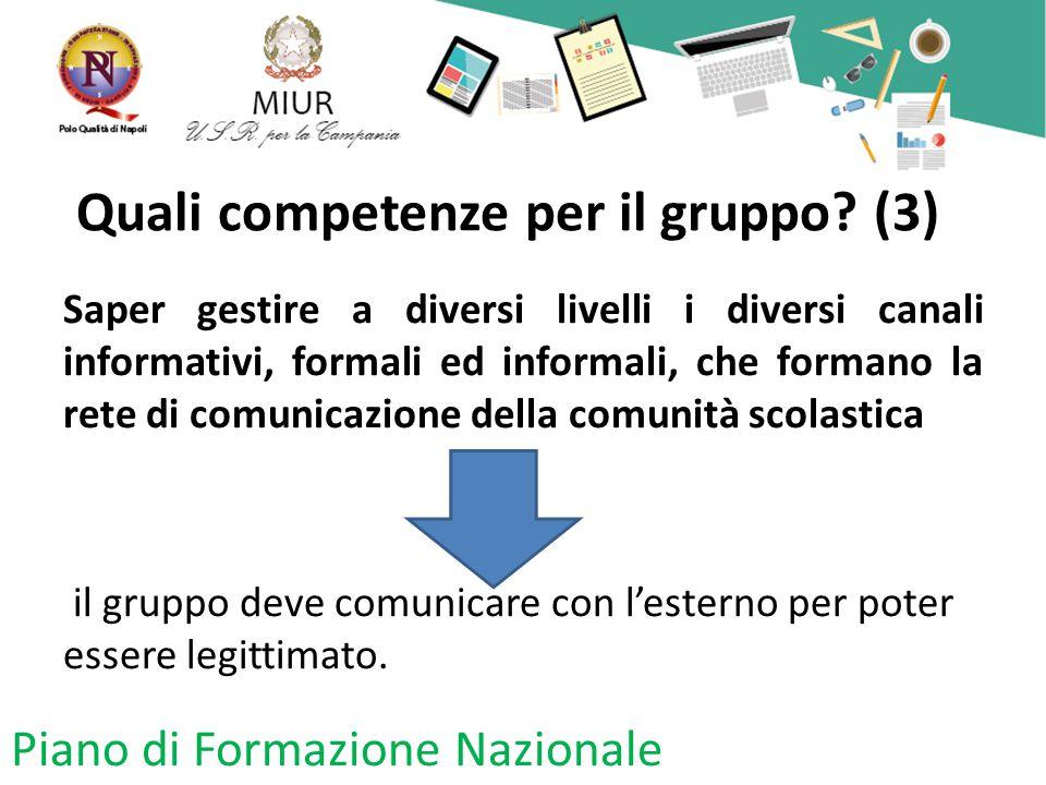 Quali competenze per il gruppo? (3) Saper gestire a diversi livelli i diversi canali informativi, formali ed informali, che formano la rete di comunic
