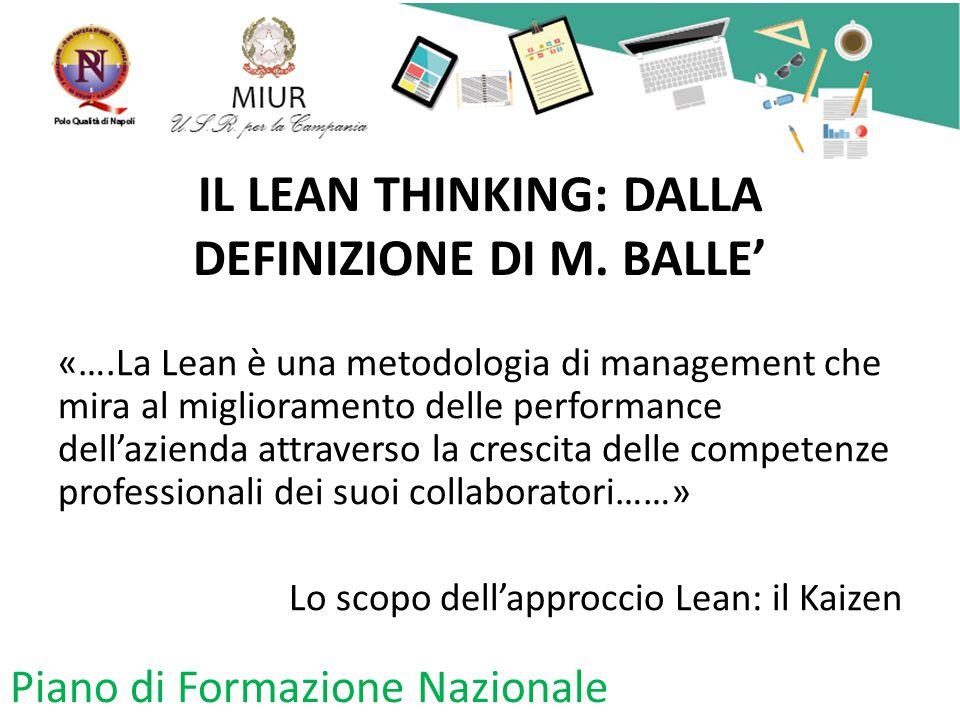 IL LEAN THINKING: DALLA DEFINIZIONE DI M. BALLE' «….La Lean è una metodologia di management che mira al miglioramento delle performance dell'azienda a